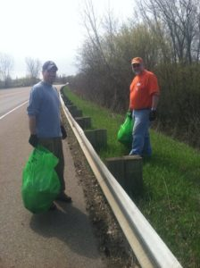 After hauling a living room set and a mattress out of the swamp, club members cleaned up about a mile of Rt 127 in Burlington today. Green Up Day 2011.